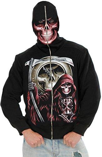 [Boys Large 30-31 Grim Reaper Costume Hoodie Sweatshirt] (Boys Skeleton Sweatshirt Hoodie Costumes)