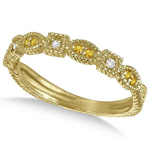 0.15ct Womens Unique Round Yellow Sapphire Gemstone and Diamond Vintage Stackable Ring 14k Yellow Gold ()