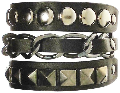 - Bracelet - Black Leather Triple Strand Chain and Studded Bracelet