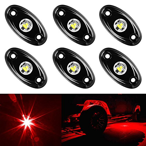 Amak 6 Pods LED Rock Lights Kit Red Underbody Glow Trail Rig Light Waterproof Underglow LED Neon Lights for JEEP Off Road Trucks Car ATV SUV Vehicle Boat - Red