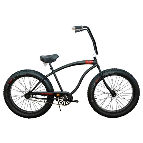 Micargi SLUGO FAT TIRE Beach Cruiser Bike -- Matte Black with Black Rims