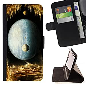 DEVIL CASE - FOR HTC One M7 - Moon Universe Planets Magical World Yellow - Style PU Leather Case Wallet Flip Stand Flap Closure Cover