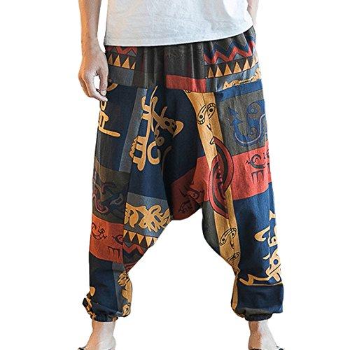 Hzcx Fashion Men's Vintage Cotton Blends Linen Drop Crotch Jogging Harem Pants DSC229-DK69-60-SM-US S TAG L (Harem Pants For Men)