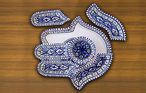 Large Bohemian Blue Hamsa Palm, Hand of Fatima Dippers, 7 Pieces of Ceramic Dipping and Serving Plates Handmade, Hand-painted - Wedding, Birthday, Housewarming Gifts, Labor Day Celebration