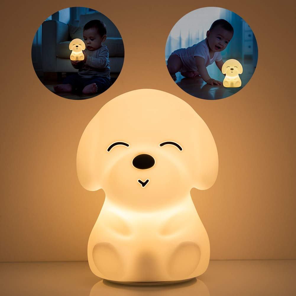 Night Lights for Kids, Mubarek Nightlights for Children,Cute Dog Animals Nursery SiliconeTimer Toddler Lamp for Girls/Baby, Portable Travel Rechargeable Color Changing Child Light, Birthday Gifts