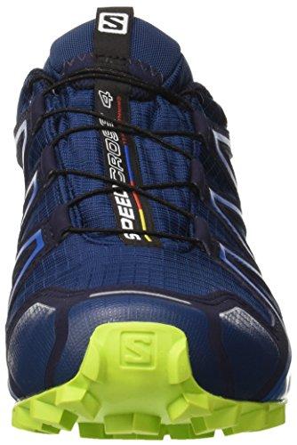 Salomon Men's Speedcross 4 GTX Trail Running Shoes, Red Blue (Poseidon/Navy Blazer/Lime Green)