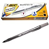 X12 BIC Round Stic Ez Ball Point Pen - Black Ink- Pack of 12 Pens