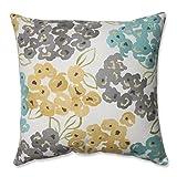 Pillow Perfect Luxury Floral Pool Throw Pillow, 16.5'', Aqua/Grey Yellow