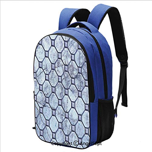 (16.5 Inch Backpack Retro Marble Tiled Spiral and Round Circular Bound Tied Old Fashion Shapes Design for School and Travel,Grey)