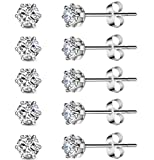 5 Pairs Stainless Steel Cubic Zirconia Stud Earrings Set for Hypoallergenic Multi-Piercing Ears of Men,Women,Boys & Girls: more info