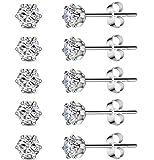5 Pairs Stainless Steel Cubic Zirconia Stud Earrings Set for Hypoallergenic Multi-Piercing Ears of Men,Women,Boys & Girls