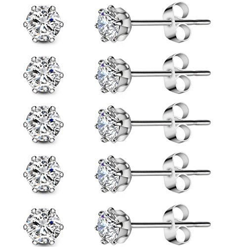 5 Pairs Stainless Steel Cubic Zirconia Stud Earrings Set for Hypoallergenic Multi-Piercing Ears of Men,Women,Boys & ()