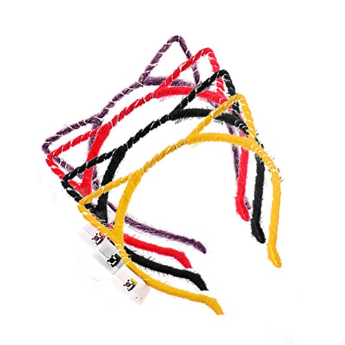 4Pcs LED Flashing Cat Ears Hairband Headwear Party Favors Supplies Decoration Accessory (Black Purple Red -