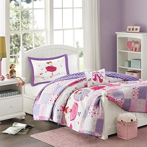4 Piece Girls Purple Pink Ballerina Patchwork Coverlet Full Queen Set, Pretty Girly All Over Patch Work Ballet Dancer Bedding, Cute Multi Floral Dancing Dancers Shoes Heart Polka Dot Themed Pattern
