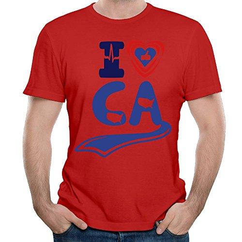 Leiyinxia Mens Customized I LIKE CALIFORNIA T-Shirts Organic Cotton O-Neck Red