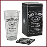 Jack Daniel's Gift Set: Tall 20oz Cocktail Mixing Glass, Rubber Coaster and Jack Daniel's Collectible Tin Container, Officially Licensed Jack Daniel's Barware
