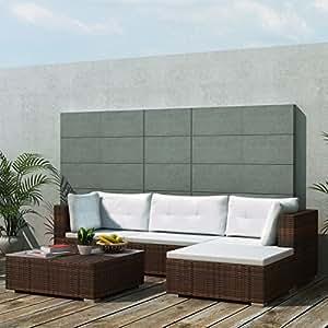 Daonanba Juego de salón de jardín de estilo combinado, práctico y cómodo, polirratán, 14 piezas, color marrón