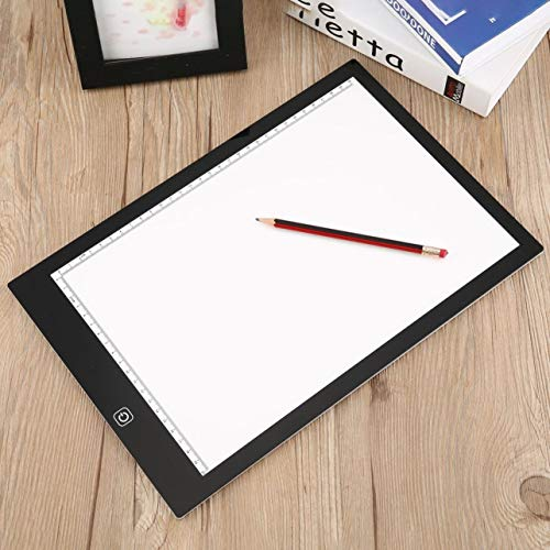 (WOSOSYEYO K03 LED Luminous Drawing Tracing Pad Dimmable Art Stencil Copy Wrting Board(Color:White&Black))