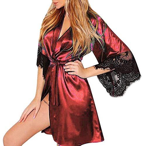 Bath Believe (Maonet Women's Sexy Silk Kimono Dressing Babydoll Lace Lingerie Belt Bath Robe Nightwear (Red, XL))