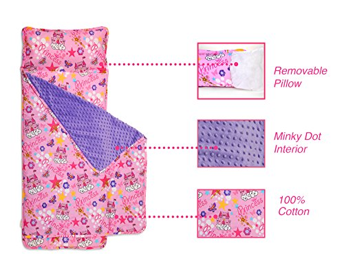 Kids Nap Mat with Removable Pillow - Soft, Lightweight Mats, Easy Clean Toddler Nap Pad for Preschool, Daycare, Kindergarten - Children Sleeping Bag (Pink with Princess Design) by Bambino Bliss by Bambino Bliss (Image #3)