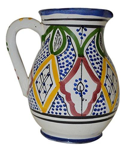 Medium Ceramic Pitcher - Moroccan Pitchers Sangria Handmade Ceramic Carafe Beverage Dispenser Jar Cooler Easy Pour