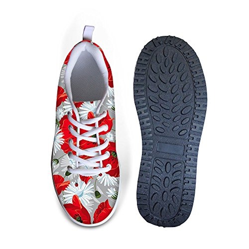 FOR U DESIGNS Vintage Floral Rose Print Fitness Walking Sneaker Casual Womens Wedges Platform Shoes Red B Q0ia4st