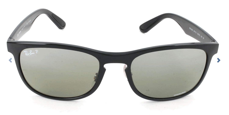 RAY-BAN RB4263 Chromance Mirrored Square Sunglasses, Shiny Black/Polarized Silver Mirror, 55 mm