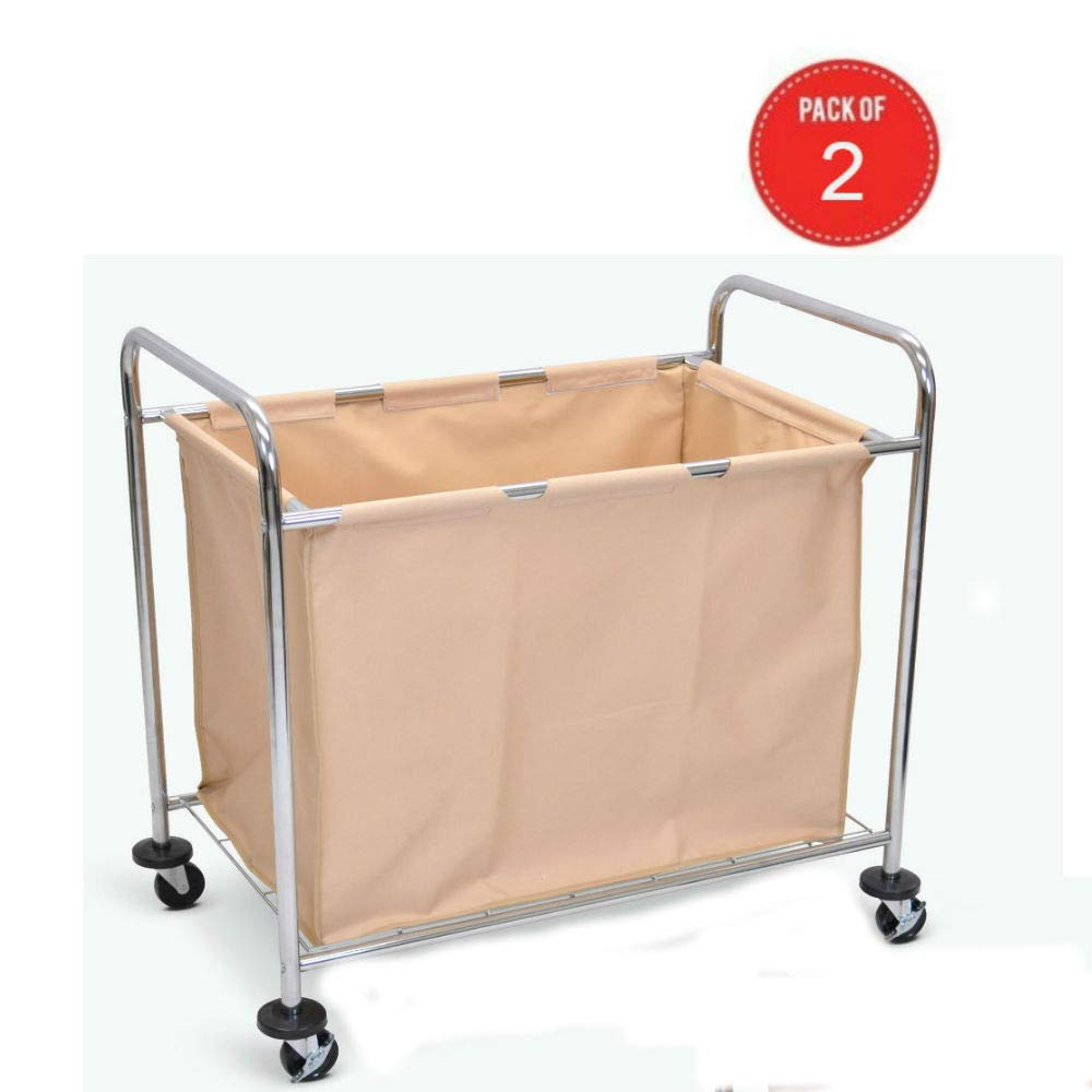 Luxor Laundry Cart with Chrome Plated Steel Frame and Heavy Duty Canvas Bag Pack of 2