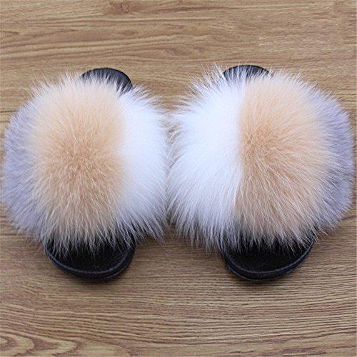 Women Sole qmfurWomen Slippers Wide Black Real Fur Fur Stitching Comfortable Fox Slides B Width Multicolor HwCqx7H0