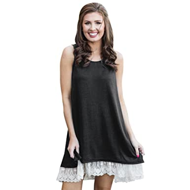 KEERADS Women Dress, Summer T-Shirt Sleeveless Lace A-Line Loose Mini Dresses