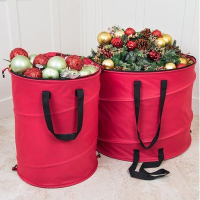 """Santa's Bags Premium Christmas Pop-Up Storage Bag with Clear View Top Window Size: 19"""" H x 25"""" W x 25"""" D"""