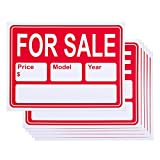 6-Piece for Sale Signs - PVC Signs, Yard Sale Signs, Garage Sale Signs, Car Sale, Red and White - 15.7 x 11.7 Inches