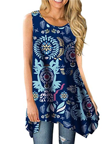 Viracy Women's Summer Casual Sleeveless Swing Tunic Floral Tank Top (X-Large, 04-Dark Blue)