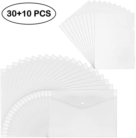 20 Pcs Plastic Envelopes Poly Envelopes Clear Waterproof Envelope Folder with Button Closure Outdoor and Office Organization Home Work US Letter A4 Size File Envelopes for School