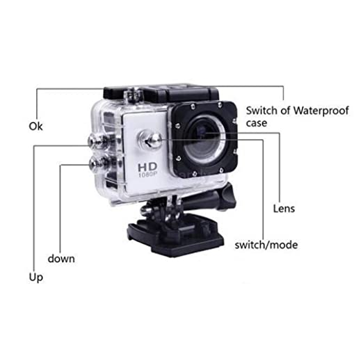 Sports Camera SJ 4000 1080P 2 Inch LCD Full HD Under Waterproof 30M Sport DV Recording Bicycle Skate Record White: Amazon.es: Electrónica