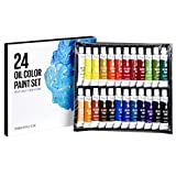 Artlicious - 24 Tube Oil Paint Set - Great for Canvas Panels, Boards & Stretched Canvas