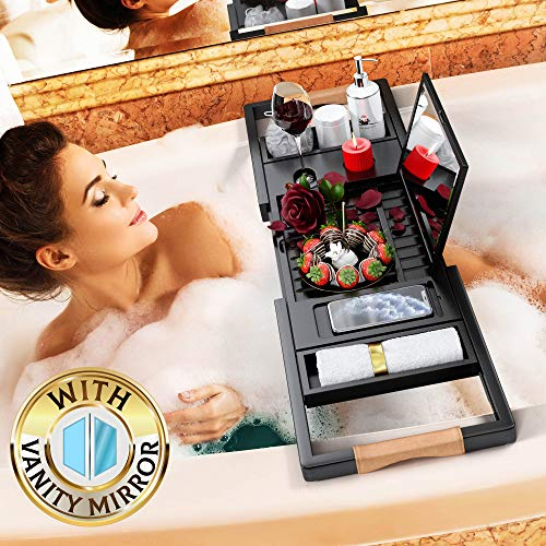 Your Majesty Premium Black Bamboo Bathtub Caddy Tray [with Mirror] 1-2 Adults -