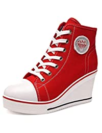 Orlancy Women's Canvas Wedge Heel Lace up Casual High Tops Walking Shoes