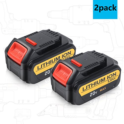 Sytechz 2 Pack 20V 5.0Ah Lithium Ion Battery for Dewalt Max Premium XR DCB205 DCB204 DCB200 DCB180 DCD985B DCD771C2 DCD7908 DCS355D1 Cordless Power Tools by Sytechz