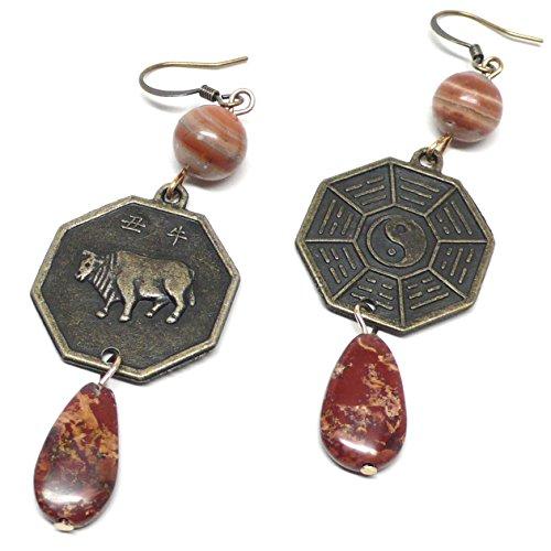 (Year of the Ox I Ching Zodiac Chinese Bagua Trigram Coin Jasper Earrings )