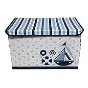 Dark blue cotton storage, toy chest, 24.5 L x W x 14 x 15 inches