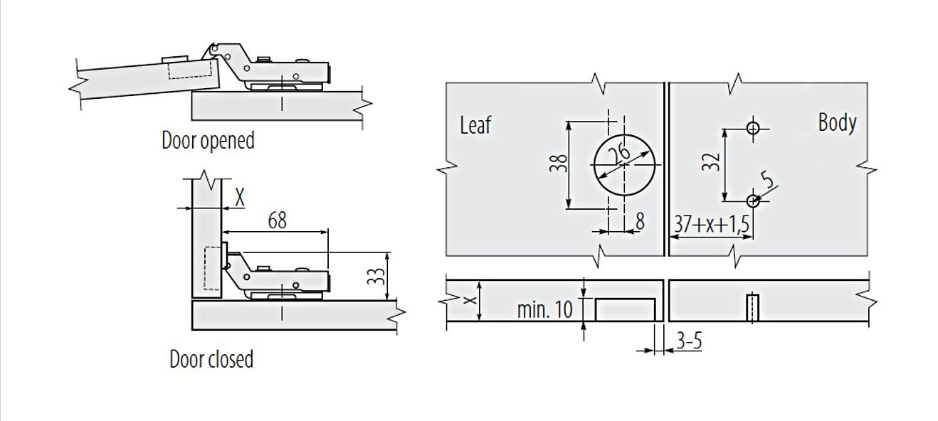 GTV 1 Automatikscharnier 110/° Au/ßenseite mit integrierter Schlie/ßtechn...