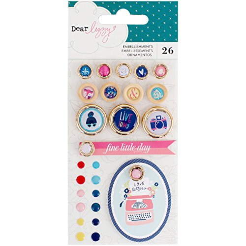 58 Dear Lizzy Lovely Day Embellishment Pack 26Piece Enamel Dots, Buttons, Tags (Lovely Dot)