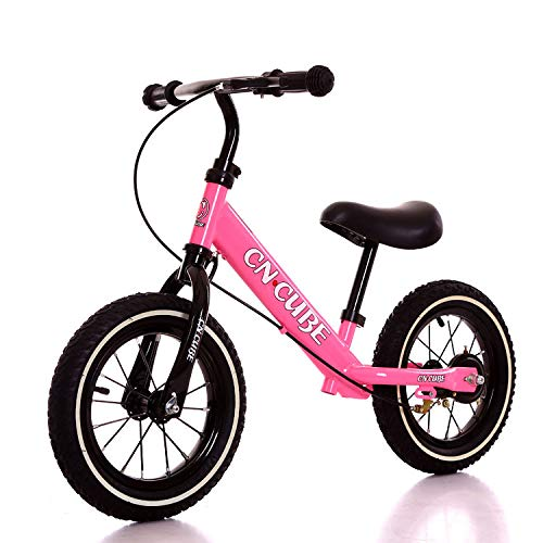2 Pack, 3-6Years Children Two Wheel Balance Bike Scooter Baby Walker 12inch Bike No Foot Pedal Riding Toys Kids Bicycle,Pink