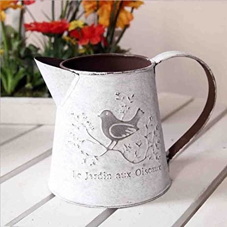 Amazon French Style White Shabby Chic Mini Metal Pitcher Vase