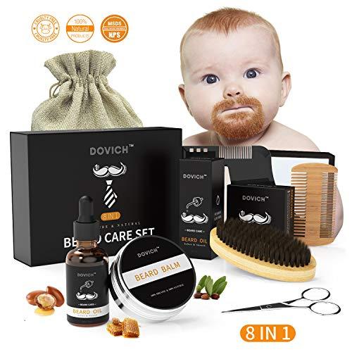 Beard Oil - DOVICH Beard Grooming Care Kit 8 in 1 for Men, 100% Natural Beard Oil Leave-in Conditioner, Beard Balm, Beard Brush, Styling Comb, Trimming Scissors, Beard shaving cloth, ()
