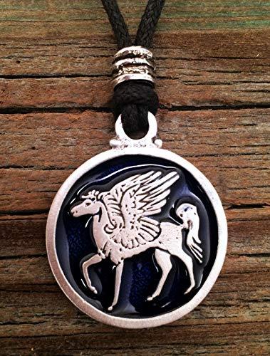 Pegasus Winged Horse Pendant Fine Pewter Blue Color