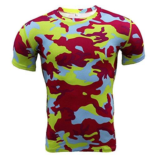Suzul_Men's Fashion Serzul Fashion Tee,Men Camo Workout Tops Fitness Sports Gym Running Yoga Athletic Shirt Blouse (L, Red) from Suzul_Men's Fashion
