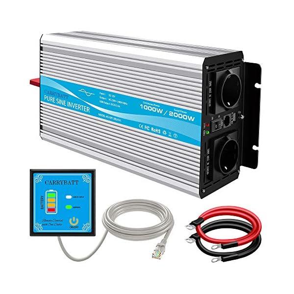 51WKKu75uvL CARRYBATT 1000W kfz Spannungswandler Wechselrichter Reiner Sinus 12V auf 230V-inkl.5 Meter Fernsteuerung-2-EU-AC…