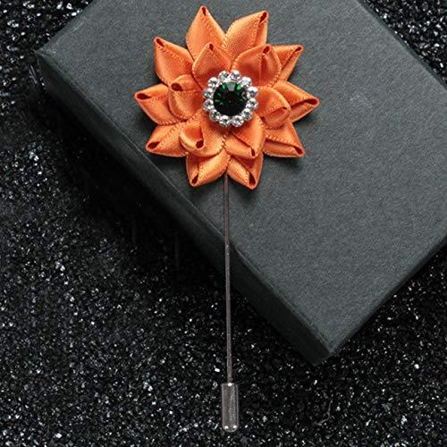 Men Women Lapel Flower Pearl Rhinestone Boutonniere Stick Brooch Pin Wedding   Color - M5